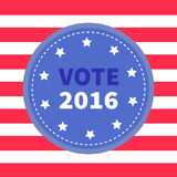 Blue badge with striped red white line background. Award button icon. Star and strip President election day 2016. Voting concept. Stock Image