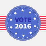 Blue badge with striped ribbon. Award icon. Star and strip President election day 2016. Royalty Free Stock Photo