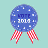 Blue badge with striped ribbons Award button icon Star and strip President election day 2016. Voting concept. American flag. Blue background Card Flat design royalty free illustration