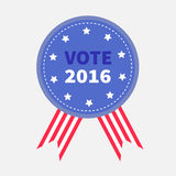 Blue badge with striped ribbons Award button icon Star and strip President election day 2016. Voting concept. American flag.. Isolated White background Card Stock Photos