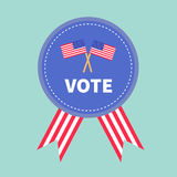 Blue badge with striped ribbons Award button icon Star and strip President election day. Voting concept. Two crossed merican flags. Isolated Blue background Stock Images