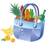 Blue bag with food Stock Photography