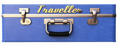 Blue bag with the inscription traveler. 3d illustration Royalty Free Stock Images