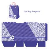 Blue bag with stripes and interesting pattern Stock Photos