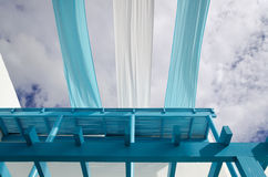 A blue balcony and Azure cloth Royalty Free Stock Images
