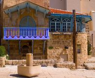 Blue balcony at centre of old Jaffa Royalty Free Stock Photography