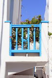 Blue balcony - Mykonos Royalty Free Stock Images