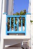 Blue balcony - Mykonos. Typical blue balcony in Mykonos island Royalty Free Stock Images