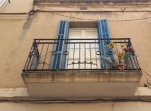 blue balcony on facade royalty free stock images