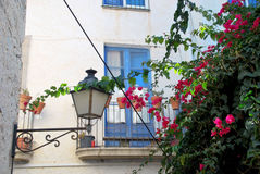 Blue balcony, pink flowers and the streetlight. Stock Photography