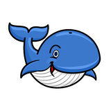 Blue baleen whale cartoon character. Cartoon baleen whale character with blue spine and striped white underside swimming with playfully raised tail and happy Stock Photos