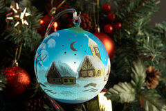 Blue ball. In front of fir tree Stock Photography