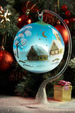 Blue ball. In front of fir tree Stock Images