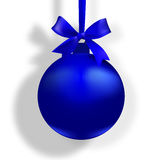 Blue ball with a bow and place for an inscription on a white background with shadows. Hanging on a ribbon. Christmas Stock Images