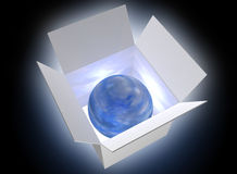 Blue ball in a box Royalty Free Stock Photo