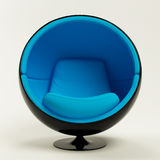 Blue ball chair isolated on white background Stock Photos