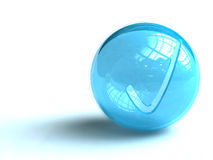 Blue ball with check mark. A blue ball isolated on white with a check mark Stock Image