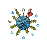 Blue ball with Christmas trees, Santa Claus, snowflakes and gifts Stock Image