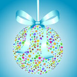 Blue Ball of Colorful Flowers with a Bow Royalty Free Stock Photography
