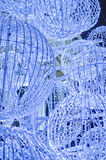 Blue Ball Decorations. A cluster of blue ball decorations lit up Royalty Free Stock Photos