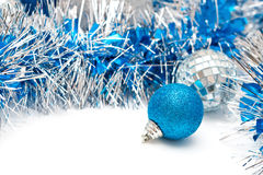 Blue ball and garland Royalty Free Stock Photos