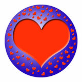 Blue ball with heart. A plastic blue ball with a big heart to fill with text and many little plastik hearts Stock Photography