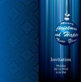 Blue ball invitation Stock Photography