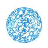 Blue ball made of social  icons Stock Photos