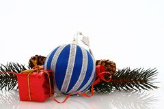 Blue ball with one gift Royalty Free Stock Image