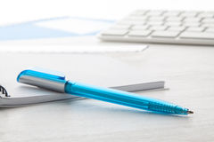 Blue ball pen Royalty Free Stock Photos