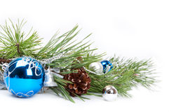 Blue ball and pine branch Royalty Free Stock Image