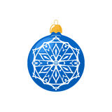 Blue Ball with Snowflake  on White Stock Photography