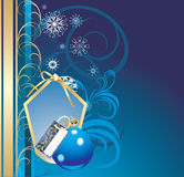 Blue ball and snowflakes. Christmas card Royalty Free Stock Image