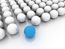 Blue ball standing out Stock Photo