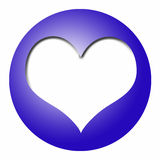 Blue ball with white heart Royalty Free Stock Images