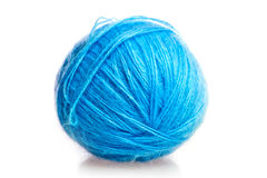 Blue ball of woolen threads Royalty Free Stock Photography