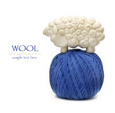 Blue ball of woollen thread Royalty Free Stock Photos