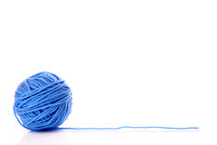 Blue ball of woollen thread isolated Royalty Free Stock Photo
