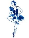 Blue ballerina, drawing gouache Stock Photo