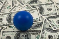 Blue ballon spread of money Royalty Free Stock Photo