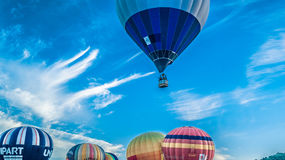 Blue balloon ascent Royalty Free Stock Photography