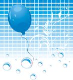 Blue balloon and bubbles on the mosaic background Royalty Free Stock Images