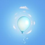 Blue balloon flying Stock Images