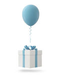 Blue balloon with gift box on white background Royalty Free Stock Images