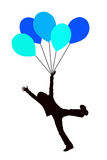 Blue balloon kid. Kid having fun and flying with blue balloons Royalty Free Stock Photo