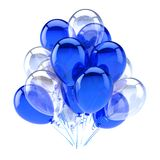 Blue balloon party happy birthday decoration white. Translucent balloons bunch glossy. Holiday anniversary celebration greeting card design element. 3d Stock Photos