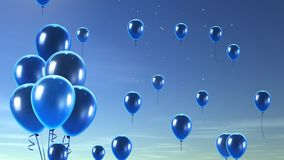 Blue balloon in the sky background Royalty Free Stock Photography