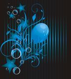 Blue balloon, stars and bubbles. Background royalty free stock photography