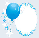 Blue Balloon With Stars And Bubbles. Frame Royalty Free Stock Photo