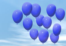 Blue balloons. Floating in a blue sky stock illustration